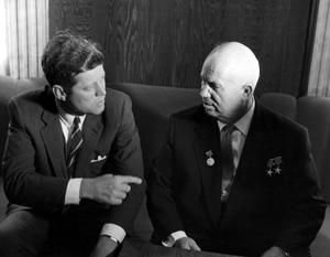 President Kennedy conferring with Premier Khrushchev
