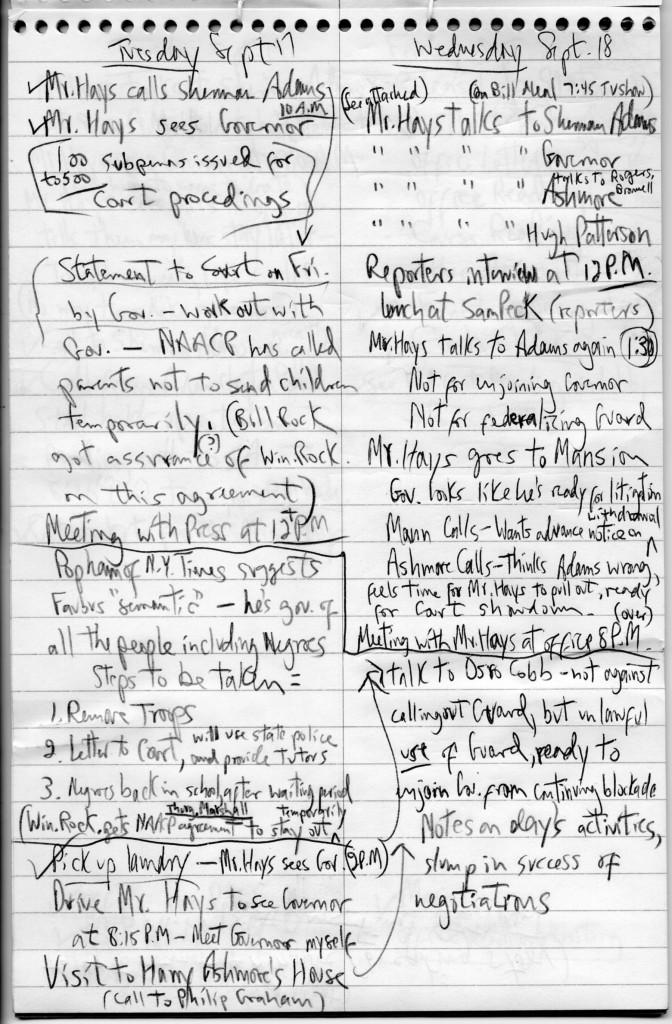 Warren Cikins's notebook on Little Rock conflict