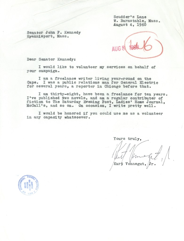 Letter from Kurt Vonnegut to John F. Kennedy, 1960.