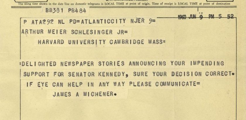Telegram from James A. Michener to Arthur M. Schlesinger, Jr., June 9, 1960.  [JLSPP-001-015-p0028]