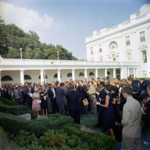 President Kennedy greets first Peace Corps volunteers in the Rose Garden, Aug. 28, 1961 [JFKWHP-KN-C18661]