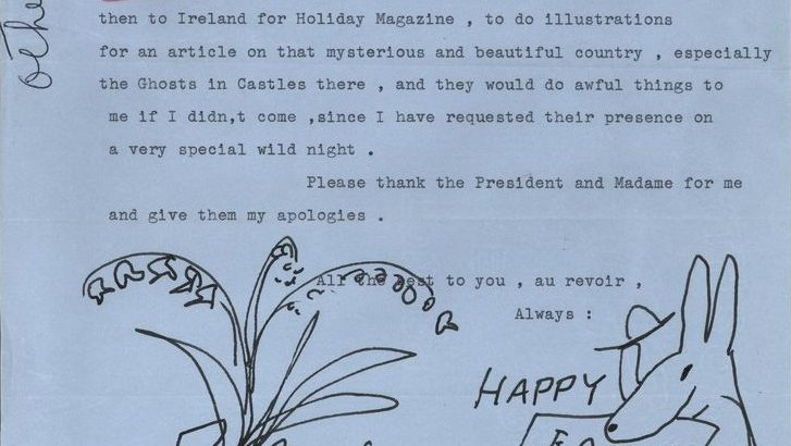 Letter of regret from Ludwig Bemelmans to Letitia Baldridge, Nobel Prize winners dinner. View entire folder here.