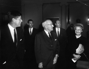 JFKWHP-AR7039-B. May Craig with Presidents John F. Kennedy and Harry S. Truman, 13 February 1962 View entire folder here: http://www.jfklibrary.org/Asset-Viewer/Archives/JFKWHP-1962-02-13-A.aspx