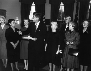 JFKWHP-AR7069-A. Visit of recipients of 2nd annual Federal Woman's Awards, 27 February 1962 [View entire folder here: http://www.jfklibrary.org/Asset-Viewer/Archives/JFKWHP-1962-02-27-A.aspx]