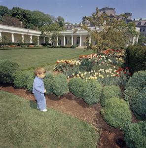 JFKWHP-ST-C112-1-63. John F. Kennedy, Jr. in the Rose Garden, April 26, 1963