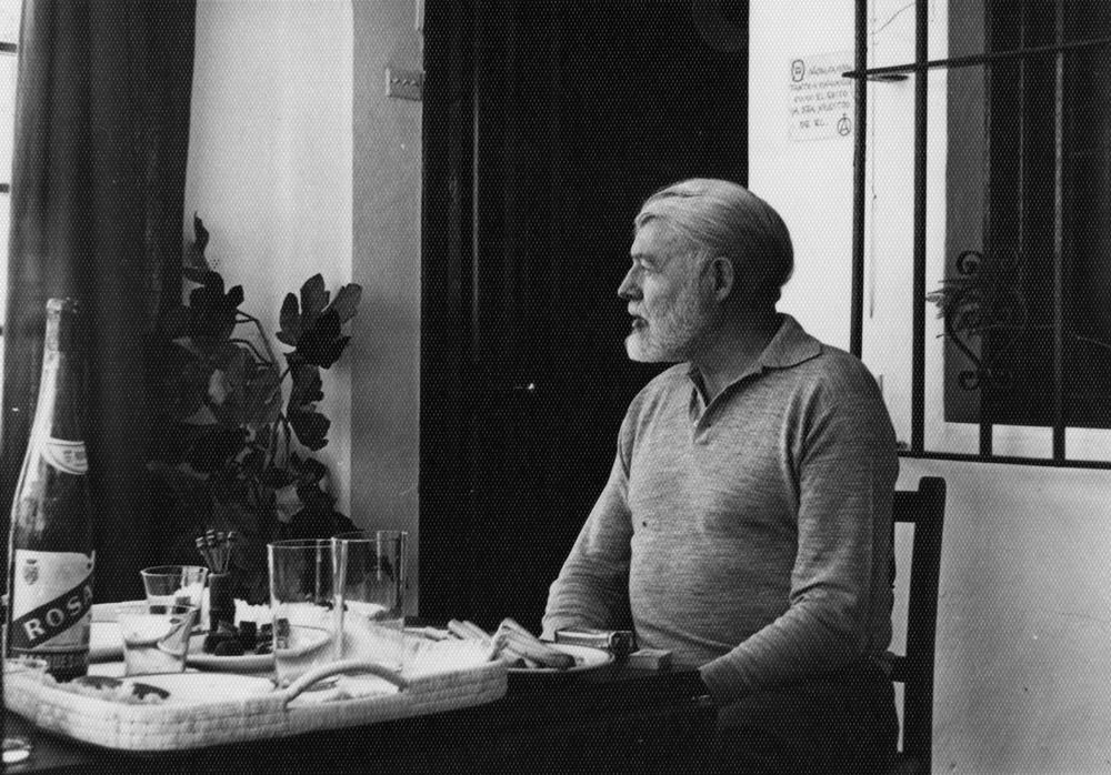 EH10478P 1959 Ernest Hemingway dines at Valcargado, Antonio Ordonez' ranch near Cádiz, Spain. Copyright status: Unknown. Please credit, Ernest Hemingway Photo Collection. John F. Kennedy Presidential Library and Museum, Boston.