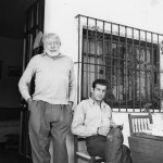 EH2388S, 1959: Ernest Hemingway visits with Spanish matador Antonio Ordonez at Valcargado, Ordonez' ranch near Cádiz, Spain. Copyright status: Public Domain. Please credit, Ernest Hemingway Photo Collection. John F. Kennedy Presidential Library and Museum, Boston.