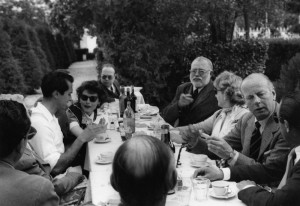 EH8864P, n.d.: Ava Gardner, Luis Miguel Dominguín, Ernest Hemingway, Mary Rupert Bellville and others at a luncheon at Costa dol Sol, Andalusia, Spain. Copyright status: Unknown. Please credit, Ernest Hemingway Photo Collection. John F. Kennedy Presidential Library and Museum, Boston.