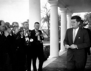 JFKWHP-AR6403-A. President John F. Kennedy with Photographers,  6 March 1961 [View photograph record here: https://www.flickr.com/photos/usnationalarchives/14190071931/in/set-72157644729385113]