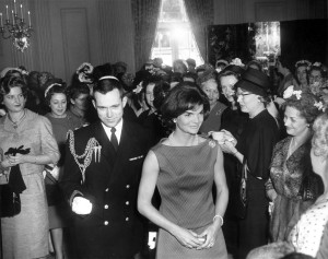JFKWHP-AR6530-A. First Lady Jacqueline Kennedy Attends White House Reception, 19 April 1961 [View photograph record here: https://www.flickr.com/photos/usnationalarchives/14190807852/in/set-72157644729385113]