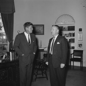 JFKWHP-KN-21436. President John F.  Kennedy with Unidentified White House Staff Member, 7 May 1962 [View photograph record here: https://www.flickr.com/photos/usnationalarchives/14193299064/in/set-72157644729385113]