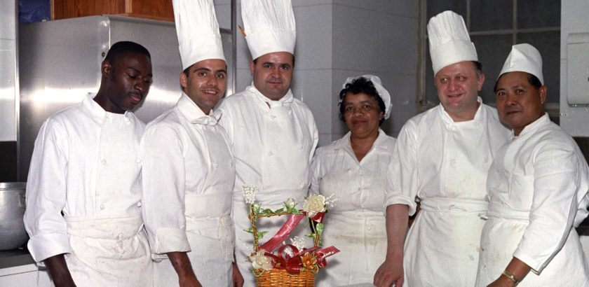 JFKWHP-KN-C21483. White House Chefs and Kitchen Staff, 3 May 1962 [View photograph record here: https://www.flickr.com/photos/usnationalarchives/14190792372/in/set-72157644729385113]