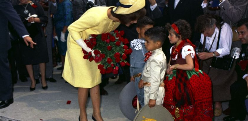 JFKWHP-ST-C1-21-62. First Lady Jacqueline Kennedy visits with children at the Instituto Nacional de Protección a la Infancia (National Institute for the Protection of Children) in Mexico City, Mexico, 30 June 1962.