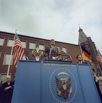 """KN-C29242                                                         23 June 1963  Trip to Europe: Germany, Cologne: Kölner Rathaus (City Hall)  Please credit """"Robert Knudsen. White House Photographs. John F. Kennedy Presidential Library and Museum, Boston"""""""