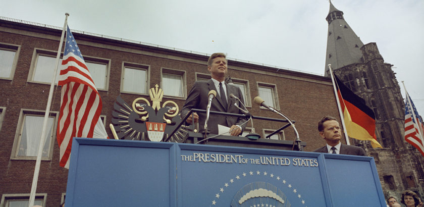 "KN-C29242                                                         23 June 1963  Trip to Europe: Germany, Cologne: Kölner Rathaus (City Hall)  Please credit ""Robert Knudsen. White House Photographs. John F. Kennedy Presidential Library and Museum, Boston"""