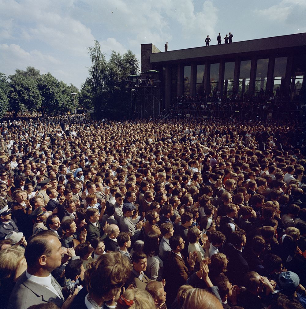 "KN-C29246 26 June 1963 Trip to Europe: Germany, West Berlin: President Kennedy addresses Free University, 3:30PM Please credit ""Robert Knudsen. White House Photographs. John F. Kennedy Presidential Library and Museum, Boston"""