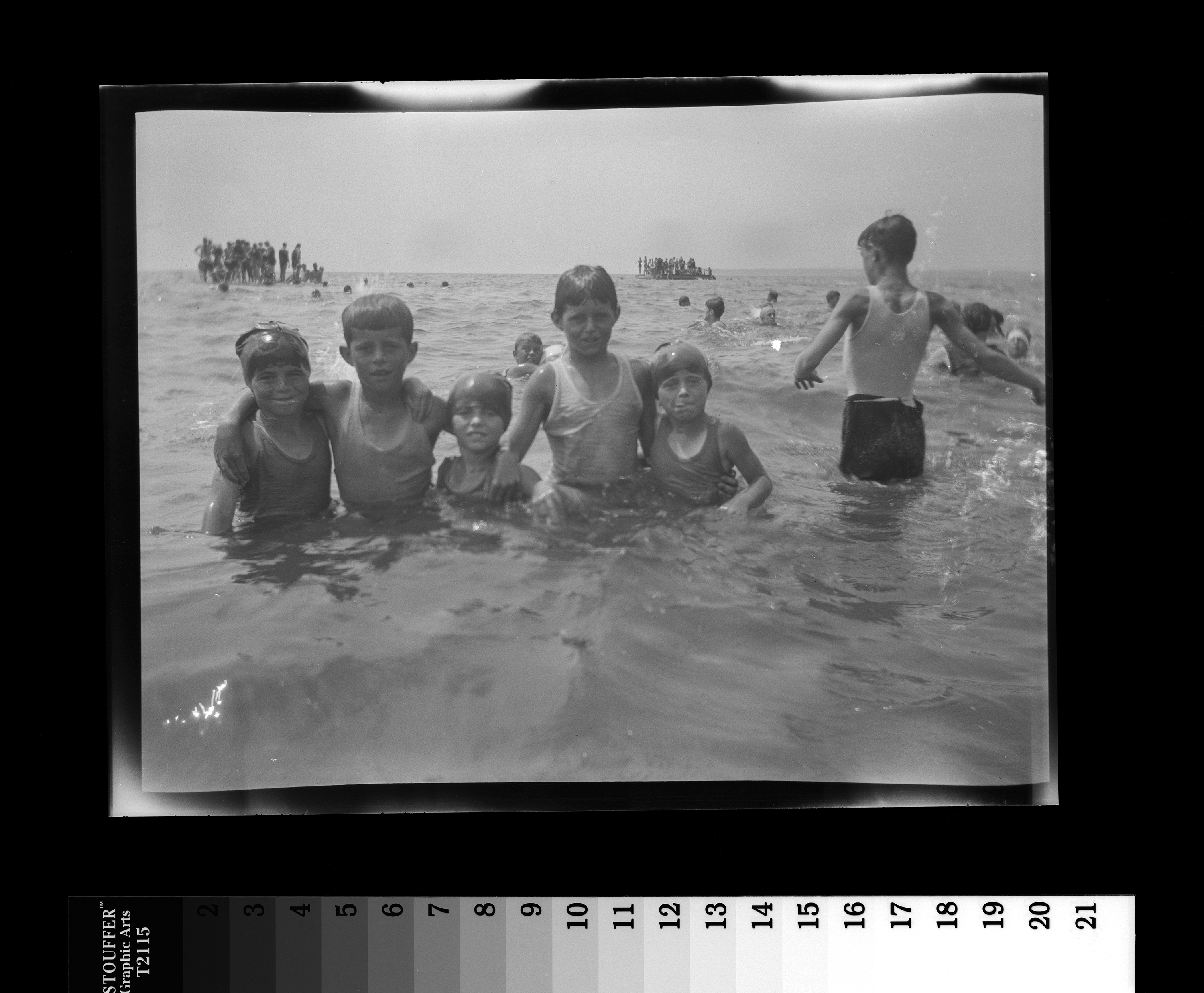 KFC618N. Rosemary Kennedy, John F. Kennedy, Eunice Kennedy, Joseph P. Kennedy, Jr., and Kathleen Kennedy. Hyannis Port, Massachusetts, ca. 1925-1927 1 negative (black-and-white; 3 1/4 x 4 1/4 inches; film/plastic: nitrate) © John F. Kennedy Library Foundation