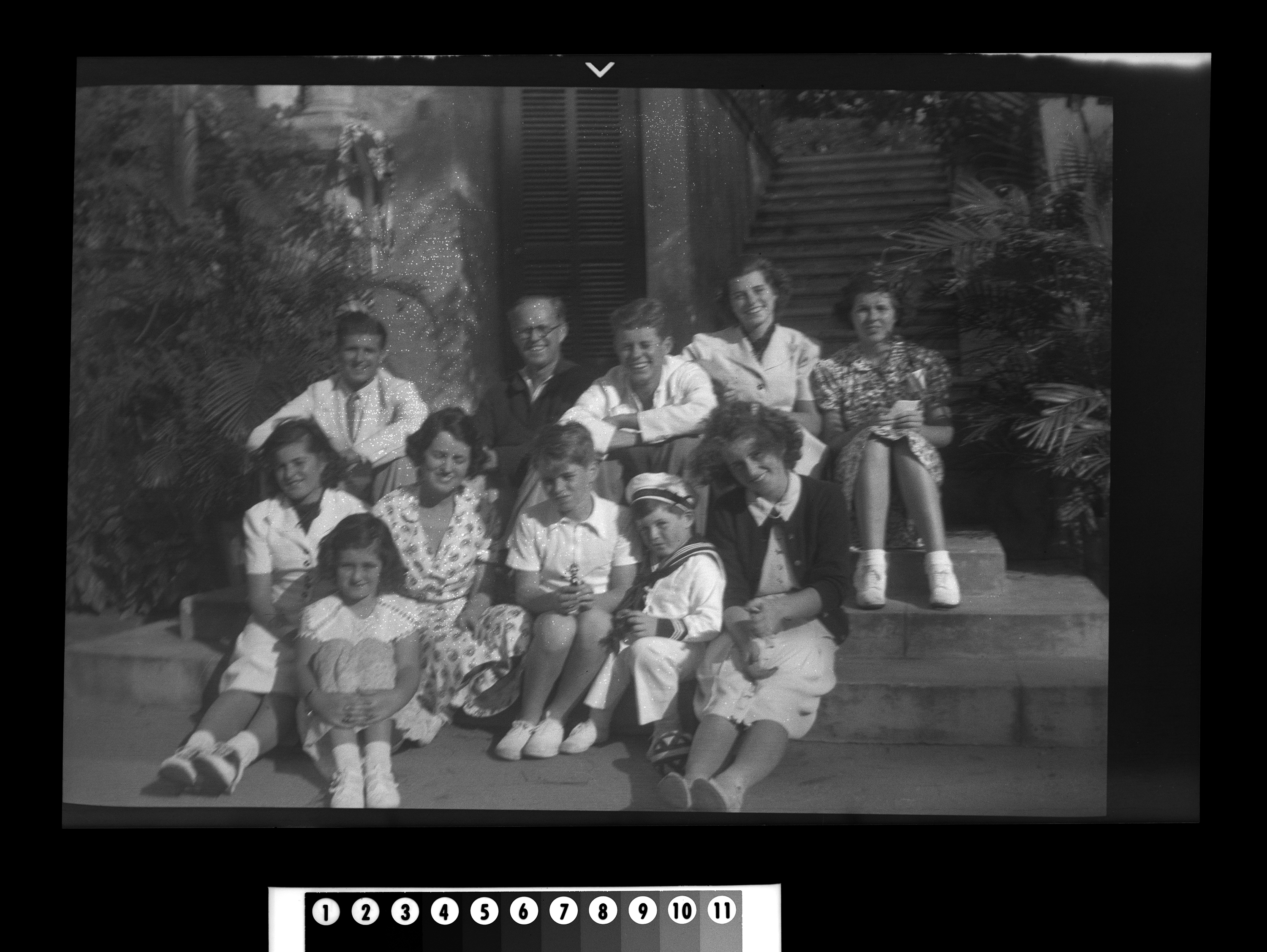 KFC1145N. Kennedy Family. Palm Beach, Florida, 25 December 1937 1 negative (black-and-white; 2 1/4 x 3 1/4 inches; film/plastic: nitrate) © John F. Kennedy Library Foundation