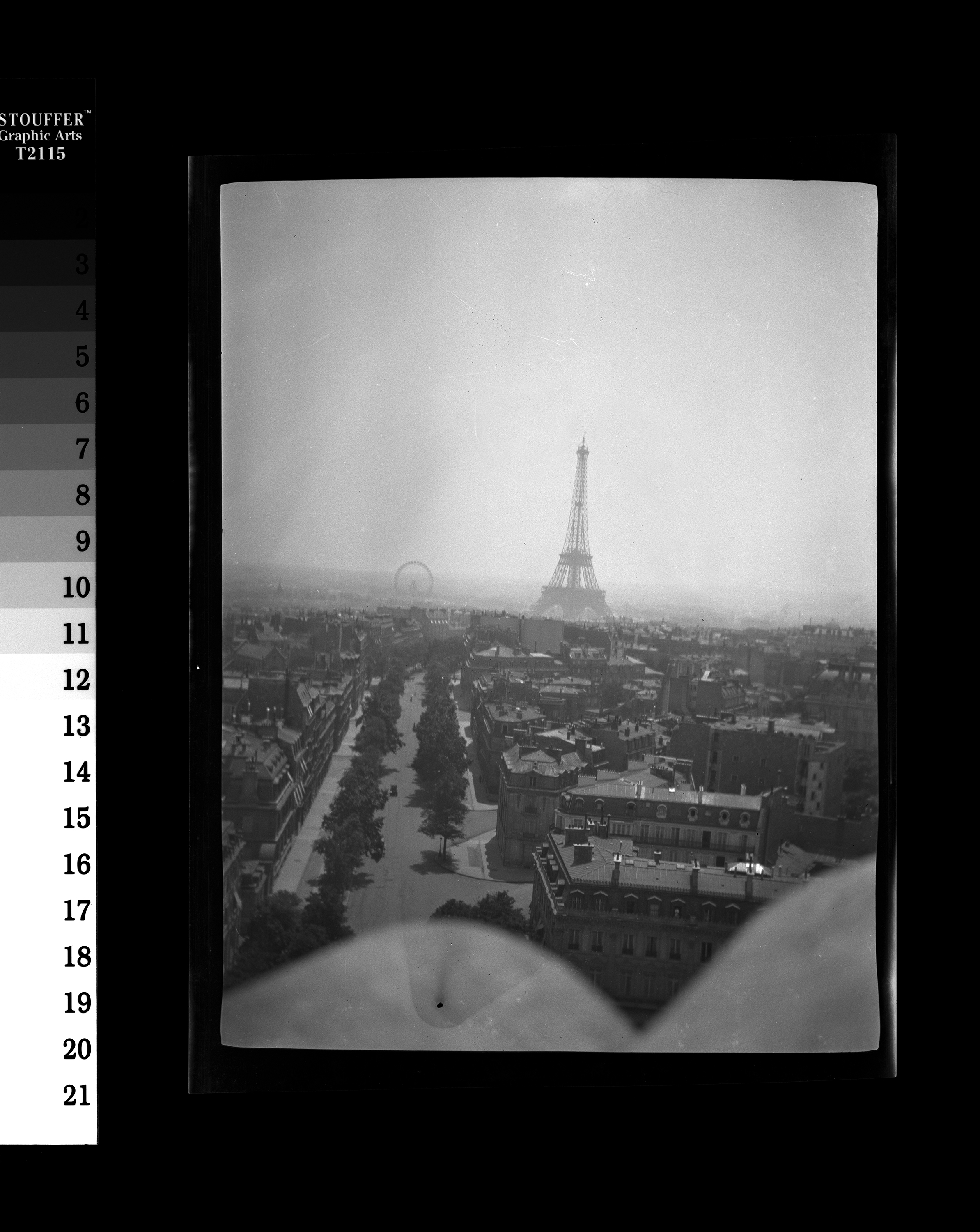 KFC1471N. View of the Eiffel Tower and Grand Roue de Paris Ferris Wheel, during Rose Fitzgerald's school year abroad. Paris, France, ca. 1908-1909 1 negative (black-and-white; 3 x 4 inches; film/plastic: nitrate) © John F. Kennedy Library Foundation