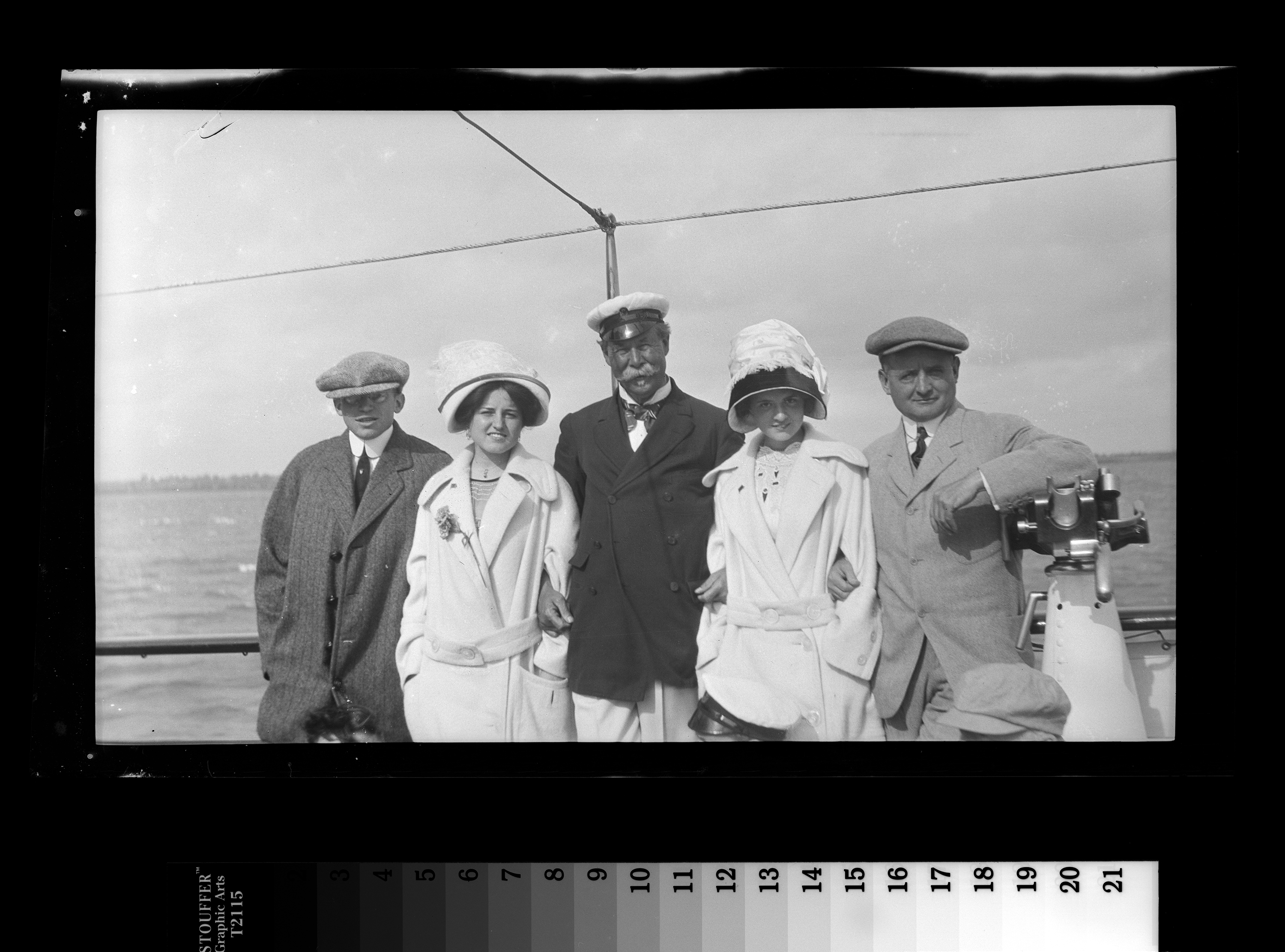 "KFC1481N. Left to right: Hugh Nawn, Rose Fitzgerald, Sir Thomas Lipton, Agnes Fitzgerald, and John F. ""Honey Fitz"" Fitzgerald. Cowes, England, August 1909 1 negative (black-and-white; 3 1/4 x 5 1/2 inches; film/plastic: nitrate) © John F. Kennedy Library Foundation"