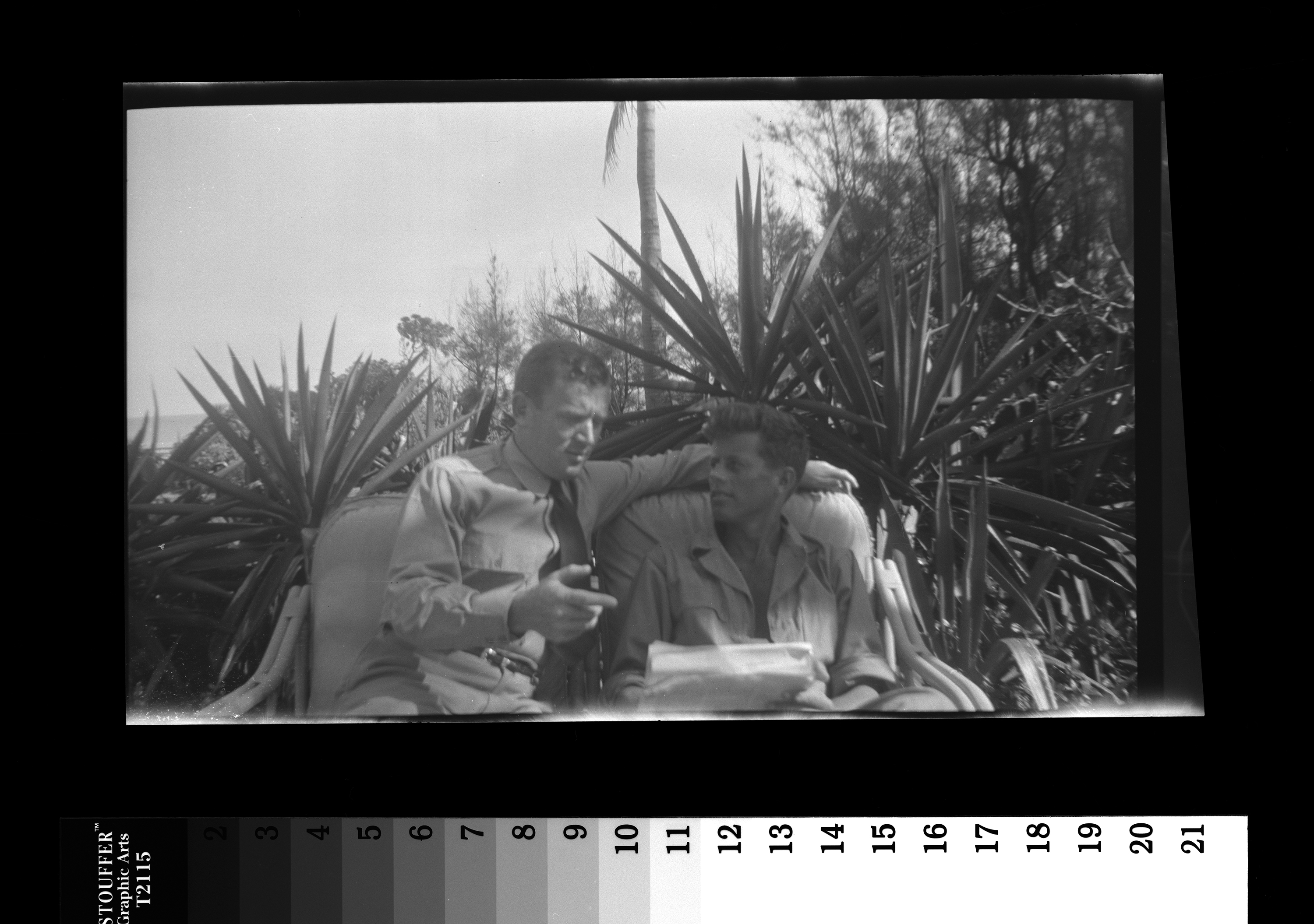 "KFC2712N. John F. Kennedy (right) and Paul ""Red"" Fay. Palm Beach, Florida, 1945 1 negative (black-and-white; 2 1/2 x 4 1/4 inches; film/plastic: nitrate) © John F. Kennedy Library Foundation"