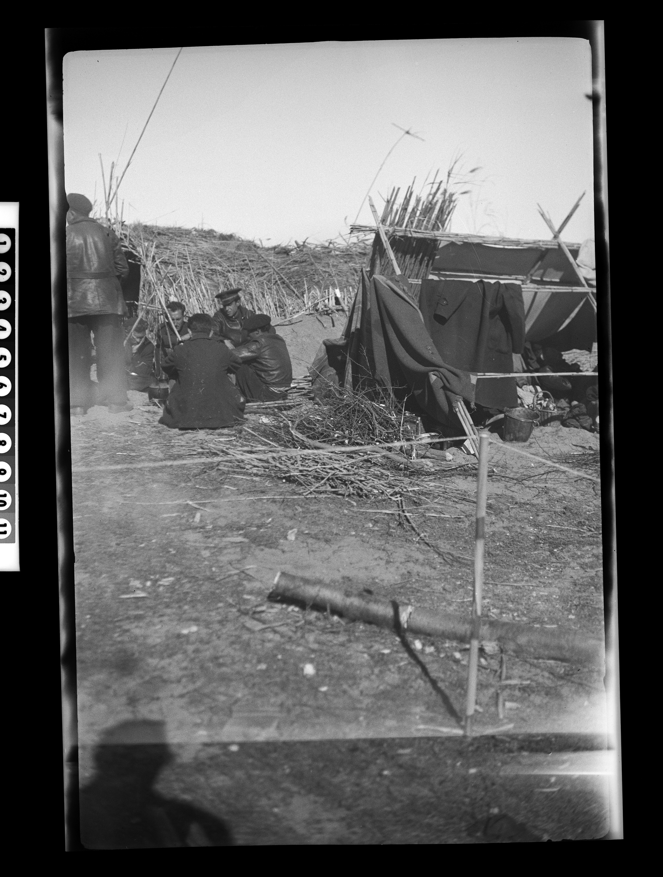KFC2782N. Spain, tour of combat areas [photograph taken during Joseph P. Kennedy, Jr.'s travels in Spain at the time of the Spanish Civil War]. 27 February 1939 1 negative (black-and-white; 2 1/4 x 3 1/2 inches (6 x 9 cm); film/plastic: nitrate) © John F. Kennedy Library Foundation