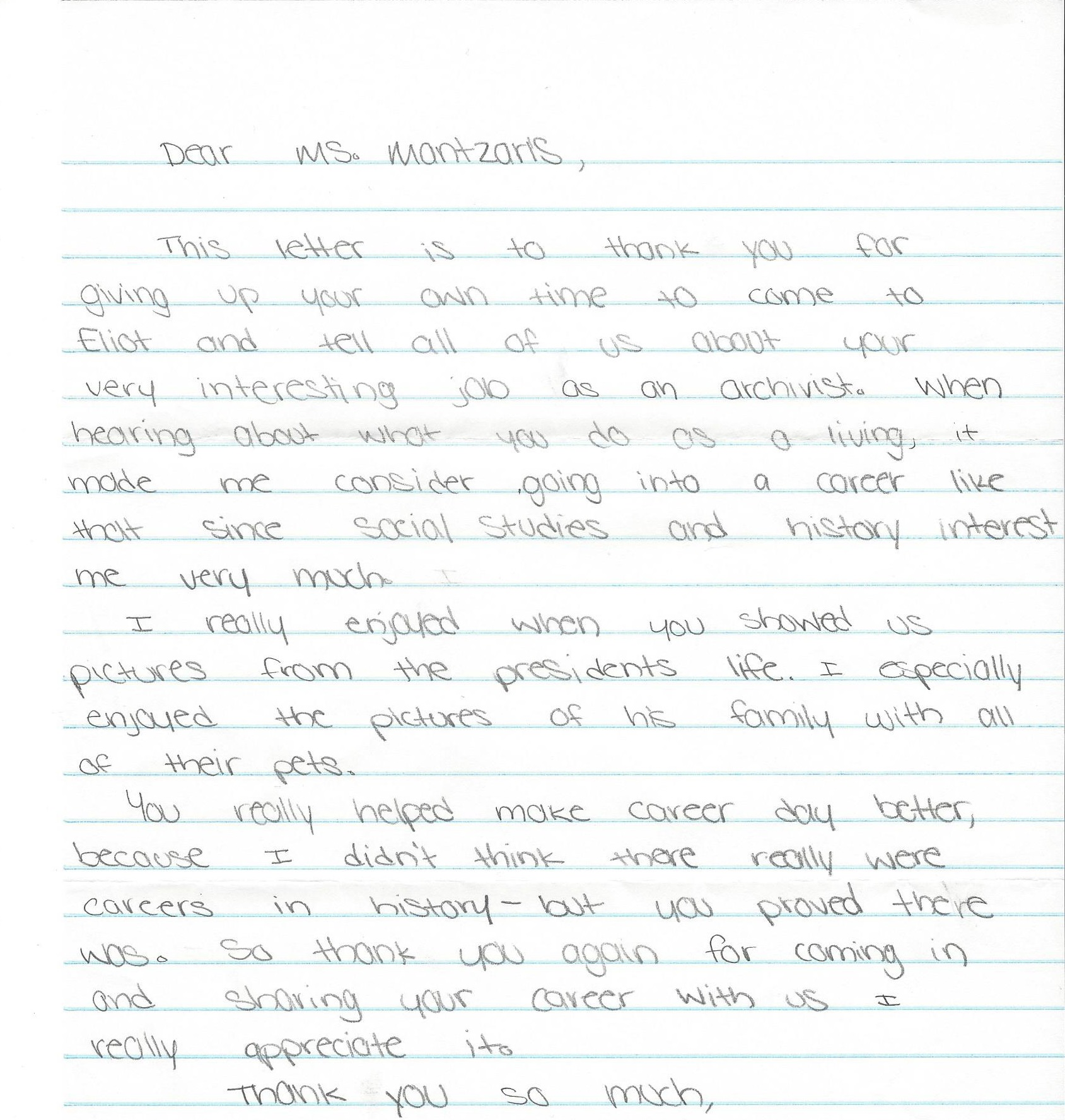 Career day with middle school students an archivists report receiving thank you letters from the students ill end this post by sharing a couple of the letters from last years class who knows expocarfo Images