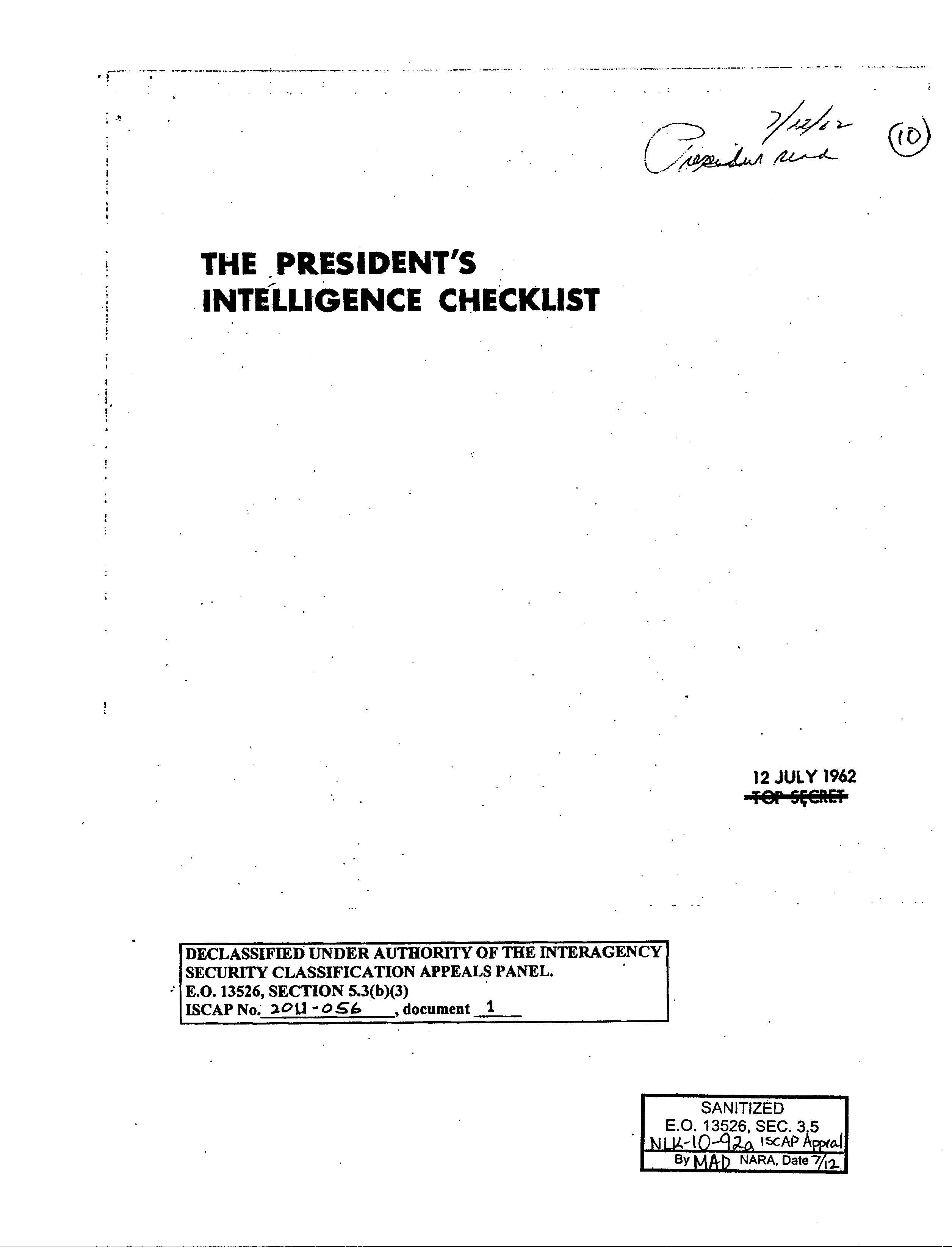 New Release of the President's Intelligence Check Lists (aka, PICLs) – ARCHIVALLY SPEAKING