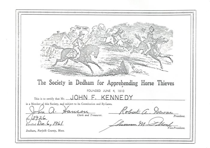 Society in Dedham for Apprehending Horse Thieves membership certificate, December 6, 1961.