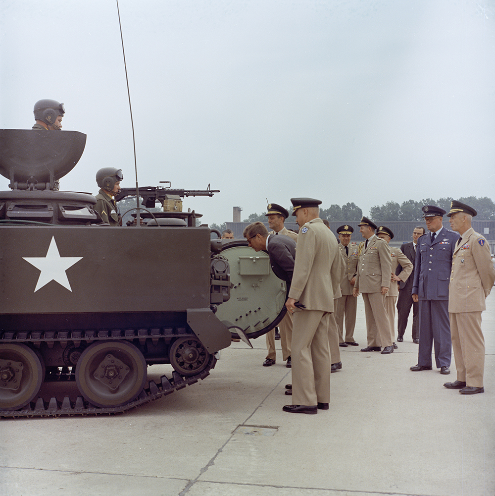 "KN-C29255 25 June 1963 Trip to Europe: Germany, Hanau: Arrival at Fliegerhorst Kaserne, address, and inspection of troops and equipment, 10:45AM Please credit ""Robert Knudsen. White House Photographs. John F. Kennedy Presidential Library and Museum, Boston"""